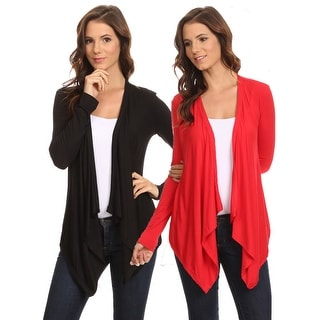 2 Pack Women's Cardigan Short Drape Open Front Small to 3XL Made in USA: BLACK/RED