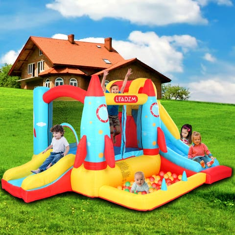 Outdoor Rocket Inflatable Bouncers Castle Oxford Cloth Jump Surface