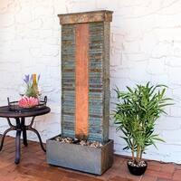 Sunnydaze Rippled Slate Indoor Fountain - Copper Finish and Spotlight - 48-Inch