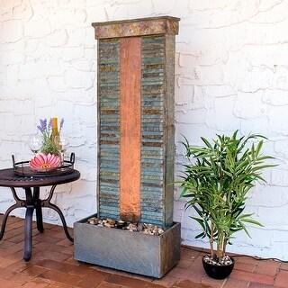 Sunnydaze Rippled Slate Indoor Fountain with Copper & Spotlight - 48 Inch Tall