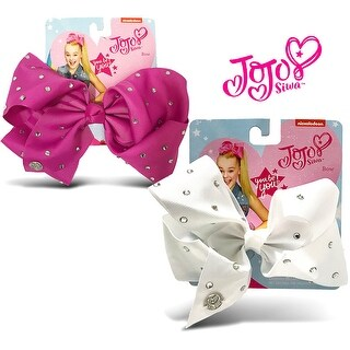 Jojo Siwa Berry and White Rhinstone Bows On Metal Salon Clip (2 Items)