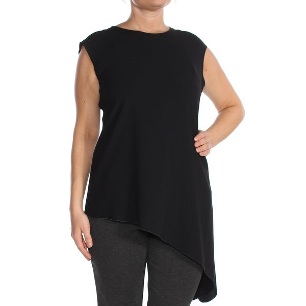 ANNE KLEIN Womens Black Asymmetrical Hem Sleeveless Top Size: 2