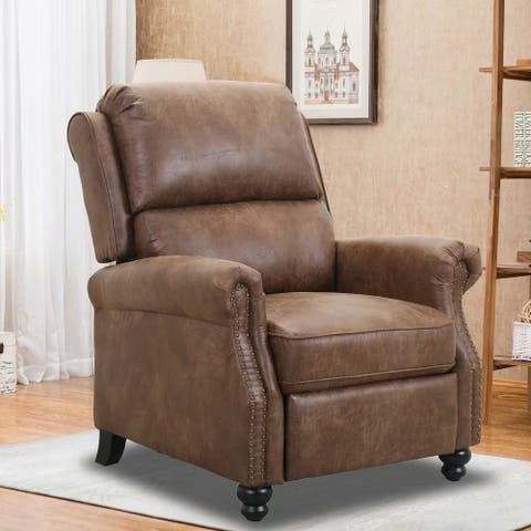 Armchair Pushback Club Recliner with Rivet Decoration