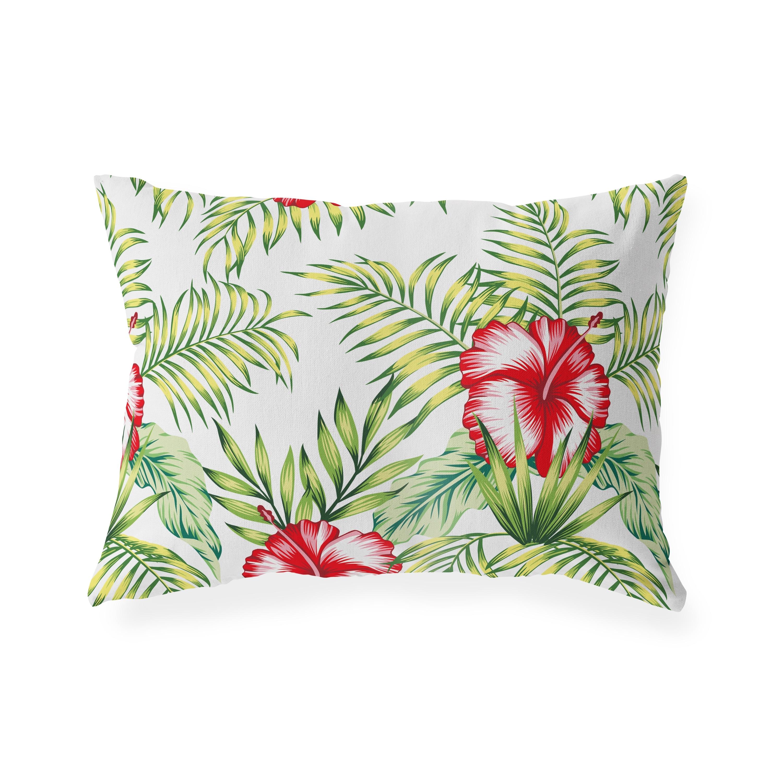 Tropical Botanical Hibiscus Indoor Outdoor Lumbar Pillow By Kavka Designs 20x14 Overstock 31278393