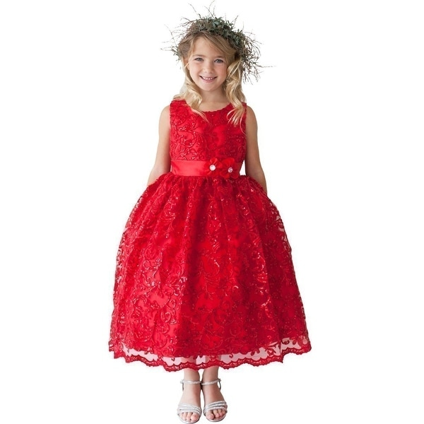 67c1c6c5e91 Shop Girls Red Sparkle Sequin Lace Overlay Junior Bridesmaid Dress - Free  Shipping Today - Overstock - 18167212