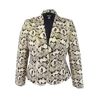 Nine West Women's Printed Jacquard One-Button Blazer - Gold Multi