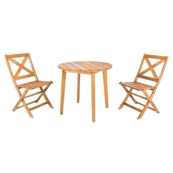 Safavieh Outdoor Living Bruna 3-Piece Bistro Set - Table: 32.3x32.3x29.53 Chair: 18.9x22x35.4. Opens flyout.