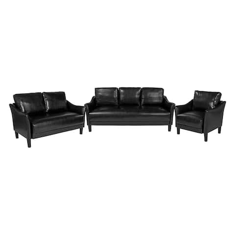 Offex 3 Piece Upholstered Chair, Loveseat and Sofa Set with Slanted Arms in Black Leather
