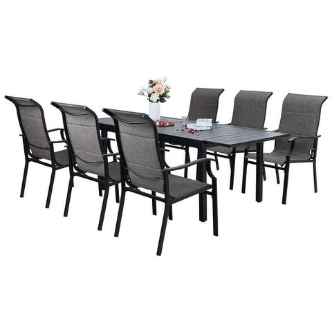 Sophia & William Patio Dining Set 9/7 Pieces Outdoor Metal Furniture Set, 8/6 Textilene Dining Chairs and 1 Expandable Table