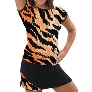 Pizzazz Girls Size 2T-16 Tiger Print Cap Sleeve Tee Cheer Dance Wear