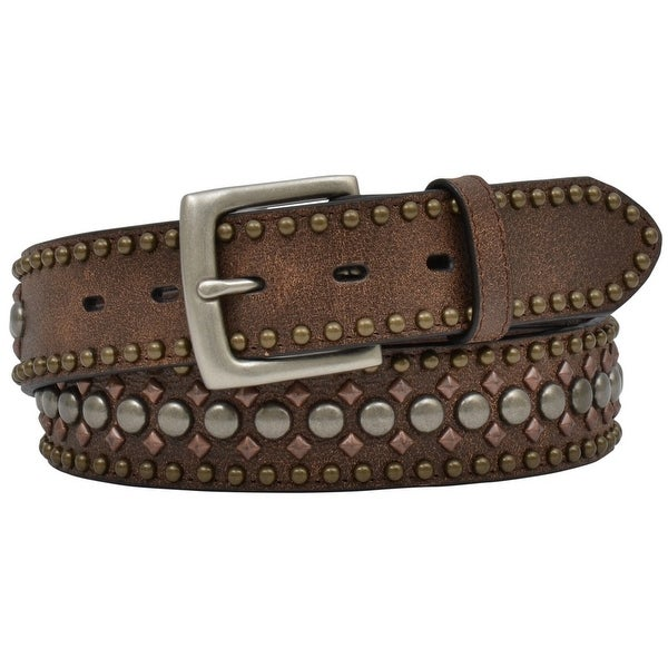 3D Belt Mens Western Studded Crackle Leather Roller Brown