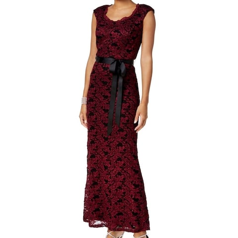 R&M Richards NEWMerlot Black Women's Size 12 Sparkle Lace Sheath Dress