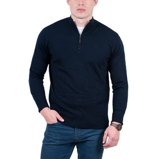 Real Cashmere Navy Blue Half Zip Cashmere Blend Mens Sweater
