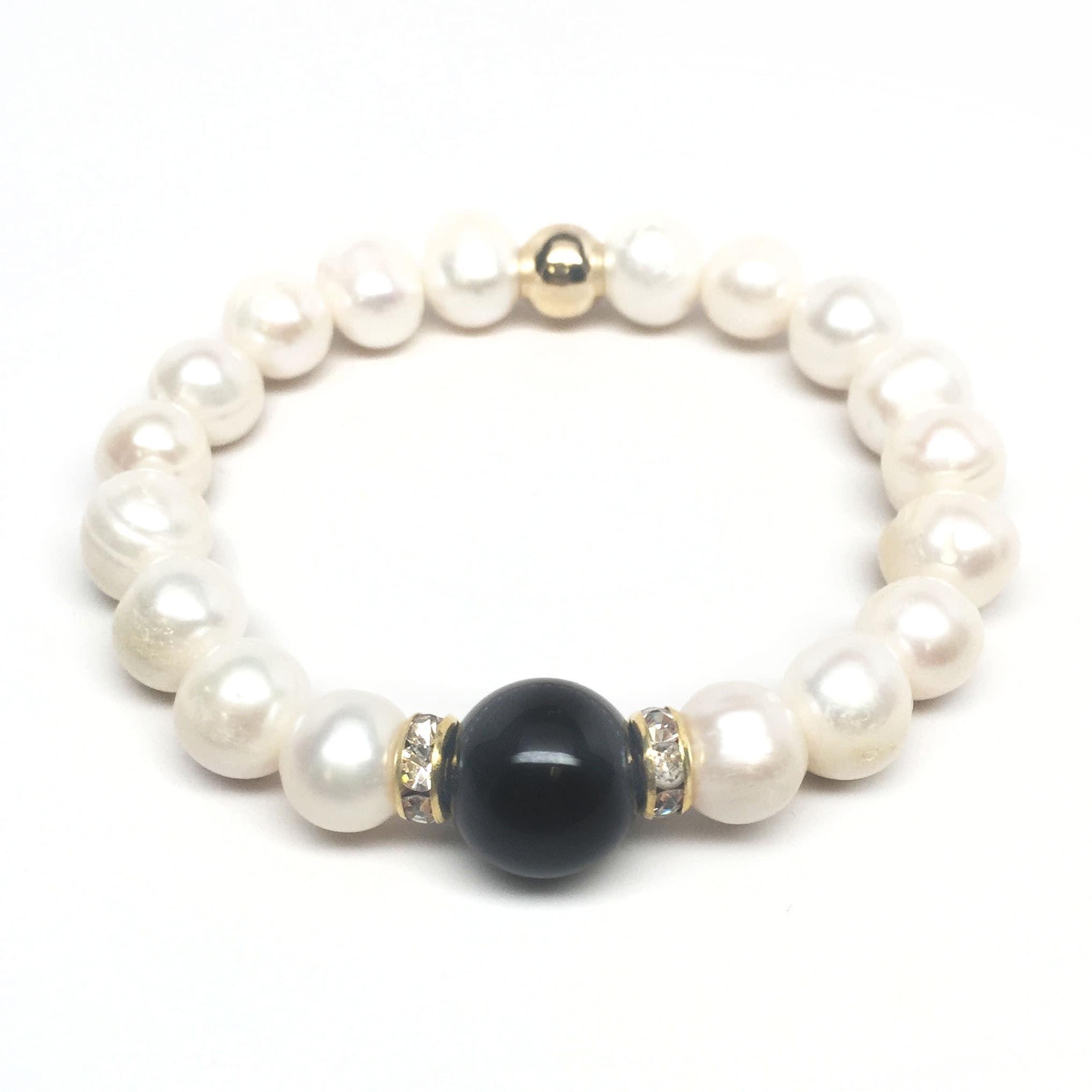 """Freshwater Pearl & Black Onyx Joy 7"""" Bracelet - Thumbnail 0"""