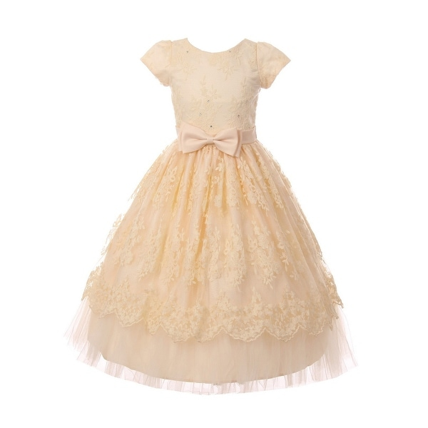 Shop Girls Champagne French Chantilly Lace Bow Junior Bridesmaid Dress - Free  Shipping Today - Overstock.com - 23087603 b1c0e2fc4773