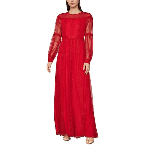 BCBG Max Azria Women's Dotted Lace Blouson Sleeve Full Length A-Line Gown - Rosso