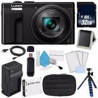 Panasonic LUMIX 4K DMC-ZS60 Digital Camera (Black) (International Model) No Warranty + DMW-BLE9 Replacement Battery Bundle
