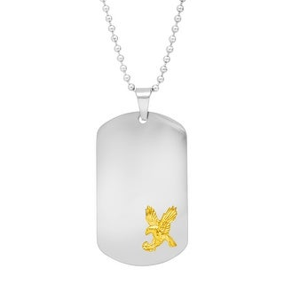 Men's Dog Tag Necklace with Eagle in Stainless Steel & Gold Ion Plating - Two-Tone