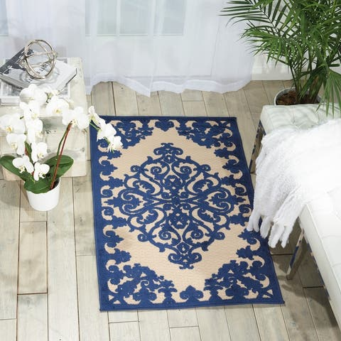 Nourison Aloha Modern Medallion Scroll Indoor / Outdoor Area Rug
