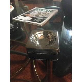 Swivel Black Leatherette & Stainless Steel Cigarette Ashtray
