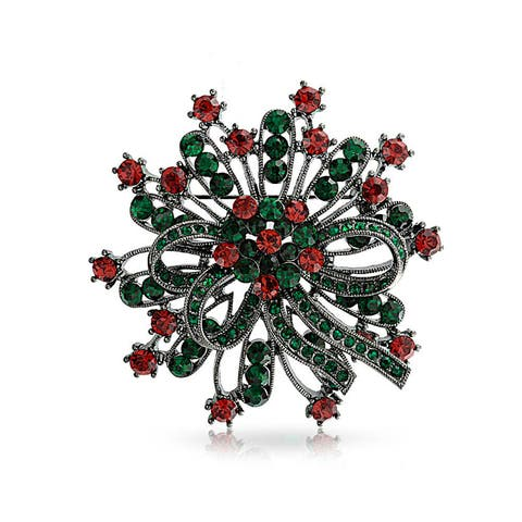 Large Holiday Wreath Decoration Christmas Brooch Pin Red Green Crystal Black Plated Alloy