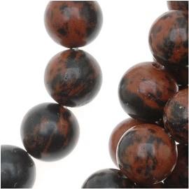 Mahogany Obsidian Round Beads 6mm Diameter 15.5 Inch Strand
