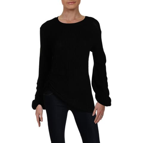 Alison Andrews Womens Pullover Sweater Ribbed Ruched Sleeve - Black