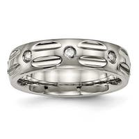 Titanium Polished Grooved CZ Ring (6 mm)