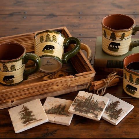 HiEnd Accents Bear Mug and Scenery Tree Coaster 8 PC Set