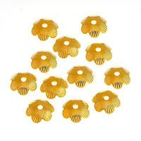 22K Gold Plated Fluted Petal Flower Bead Caps 7mm (12)