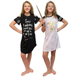 Intimo Big Girls Harry Potter Hogwarts Gold Foil Raglan & I Solemnly Swear Cut Out Nightgown Set of 2 Pajamas