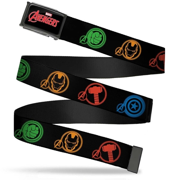 Marvel Avengers Marvel Avengers Logo Fcg Black Red White Chrome Marvel Web Belt