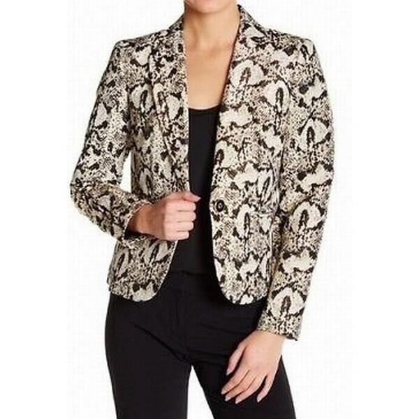 64ef1621cf Nine West Gold Black Womens Size 4 Animal-Print One-Button Blazer
