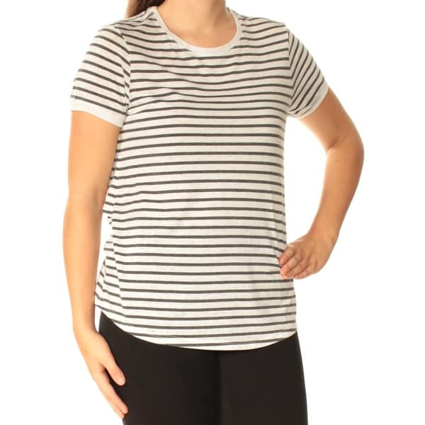 12128633e5 Womens-Ivory-Striped-Short-Sleeve-Crew-Neck-Active-Wear-Top-Size-S.jpg