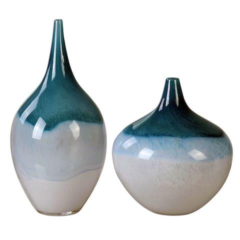 "Uttermost 20084 Carlas 15"" Vase by David Frisch - Set of 2 - Teal Green"