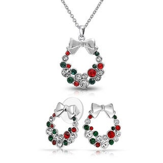 Bling Jewelry Crystal Hoilday Wreath Necklace Stud earrings Set Rhodium Plated