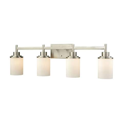4 Down Light Vanity Light With Brushed Nickel Finish With White Glass Made Of Glass/Metal - Bathroom