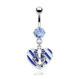 CZ with Sailing Lover Navel Belly Button Ring (Sold Ind.)