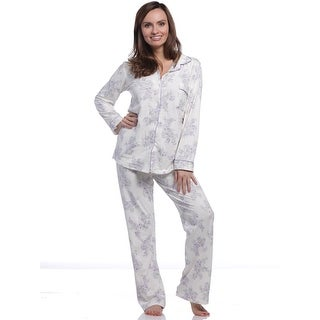 Body Touch Women's Ivory Floral Print Classic Pajama Set