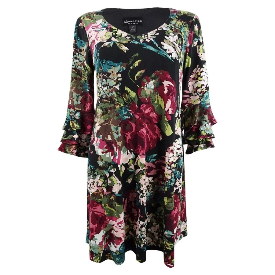 Connected Womens Plus Size Floral Printed Tiered-Bell-Sleeve Dress - Wine