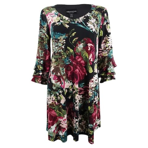 Connected Women's Plus Size Floral Printed Tiered-Bell-Sleeve Dress - Wine