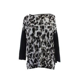 Kensie Black Multi Camo Dot Faux-Leather Trim Sweatshirt M