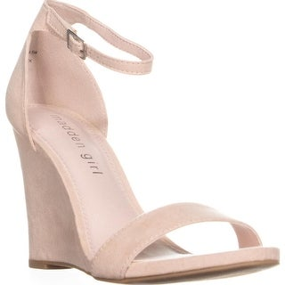 Madden Girl Willoow Wedge Ankle Strap Sandals, Blush - 6.5 us