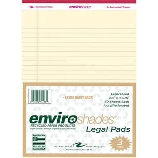 Enviroshades Legal Pad, 8-1/2 x 11-3/4 Inches, Ivory, 50 Sheets, Pack of 3