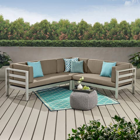 Bel Aire Outdoor Modern 5 Seater Sectional Sofa by Christopher Knight Home