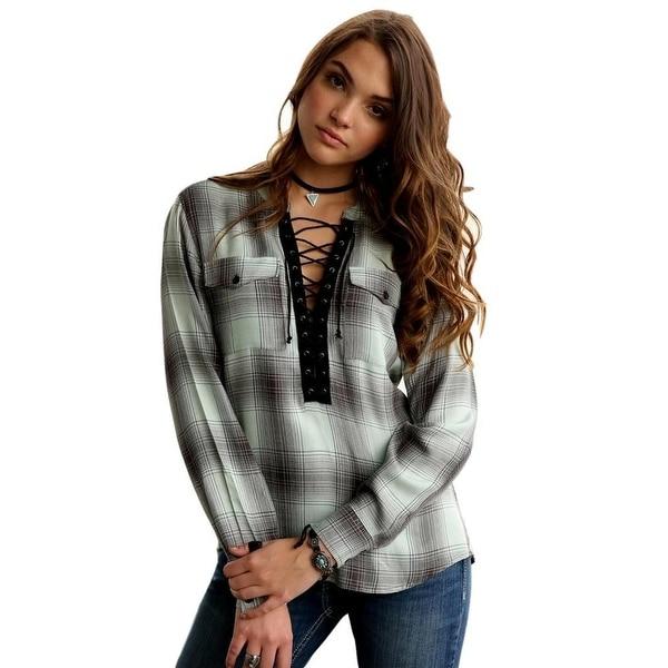 d2adcf5c69b Shop Cruel Girl Western Shirt Women Plaid Long Sleeve Light Blue - Free  Shipping Today - Overstock - 19819519