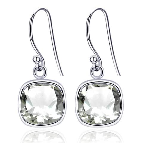 Amethyst Sterling Silver Cushion Dangle Earrings by Orchid Jewelry