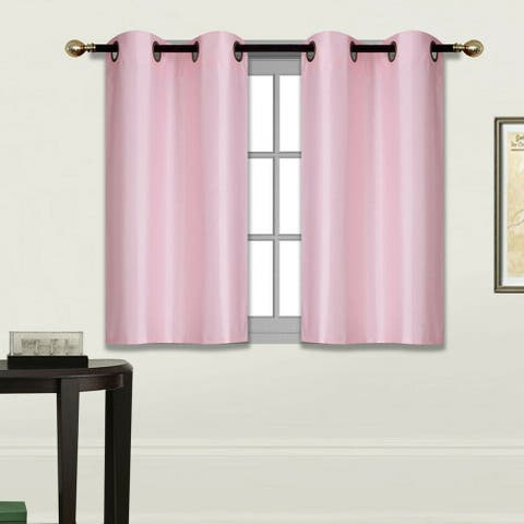 Setof2100%BlackoutFauxSilkWindowCurtainsPink (D24) - 36 x 36 inches