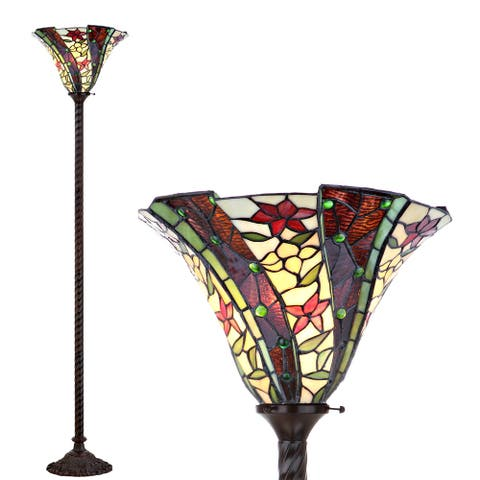 """Williams Tiffany-Style 71"""" Torchiere LED Floor Lamp, Bronze by JONATHAN Y - 71"""" H x 15"""" W x 15"""" D"""