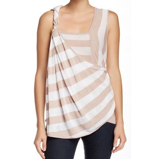 L.A.M.B. NEW Beige Womens Size XS Yarn Dyed Linen Striped Knit Top